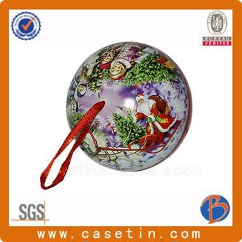 custom metal christmas decorations sphere ball tin