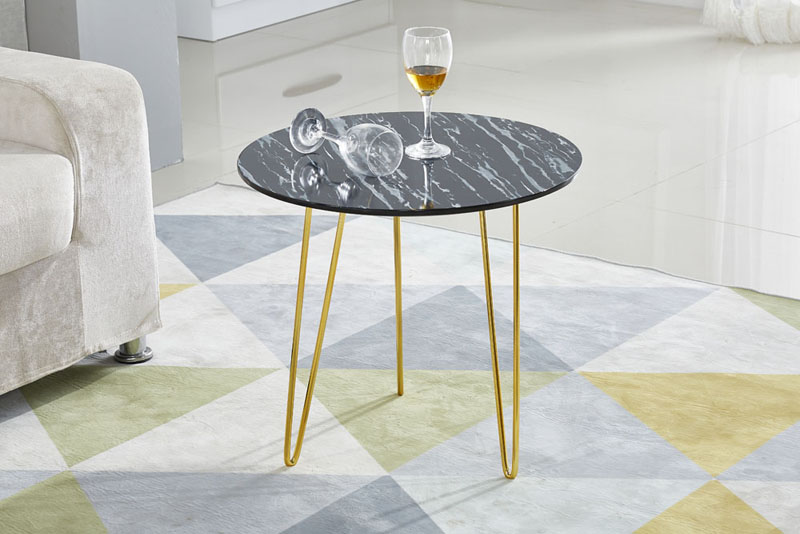 Fashion Marble Picture Top Wood Leg Side Table