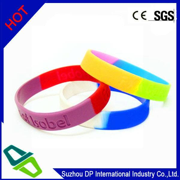 Debossed Multi-color Silicone Wristband with 3 color segments