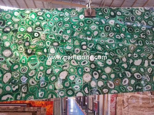 Backlit Green Agate Stone Slab