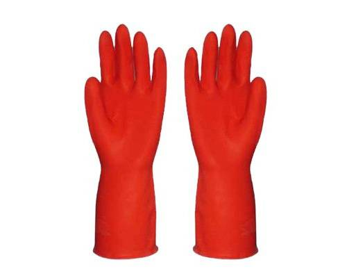 Red Kitchen household clearning rubber gloves, latex gloves