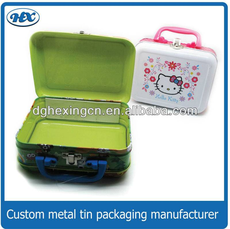 Metal Lunch Tin Boxes with handle