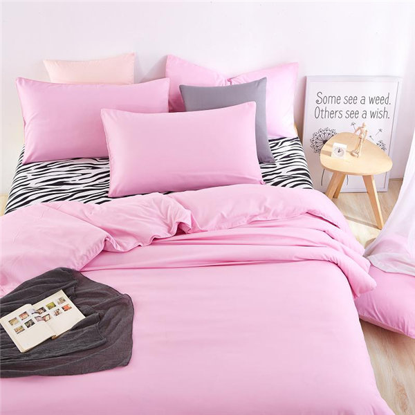 100% polyester microfiber plain dyed cheap bed sheet set bedding set pink color