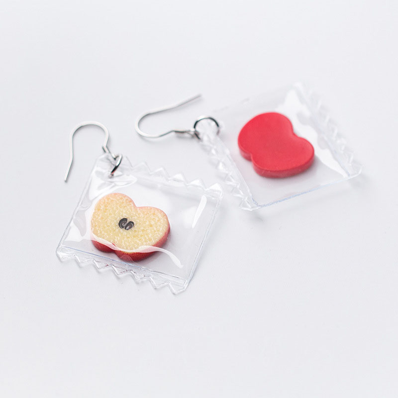 Sweet Red Apple Fruit 925 Silver Dangling Earrings
