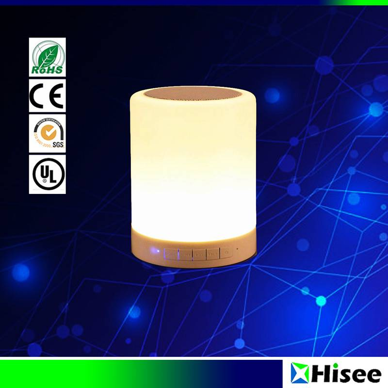 Smart led lamp with bluetooth speaker, FM radio, TF card music play and AUX in