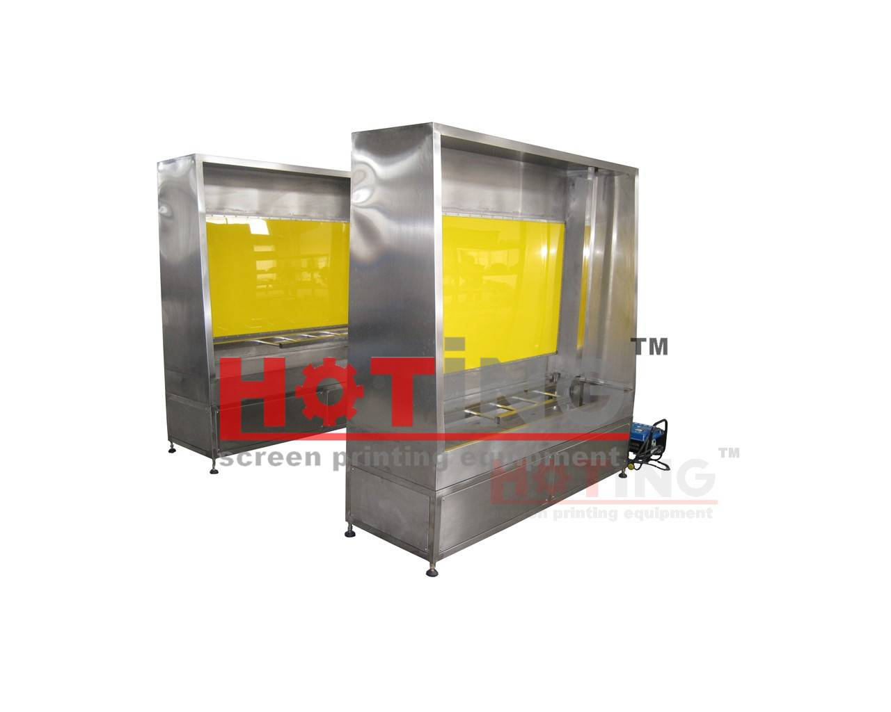 Manual screen washout booth with back light