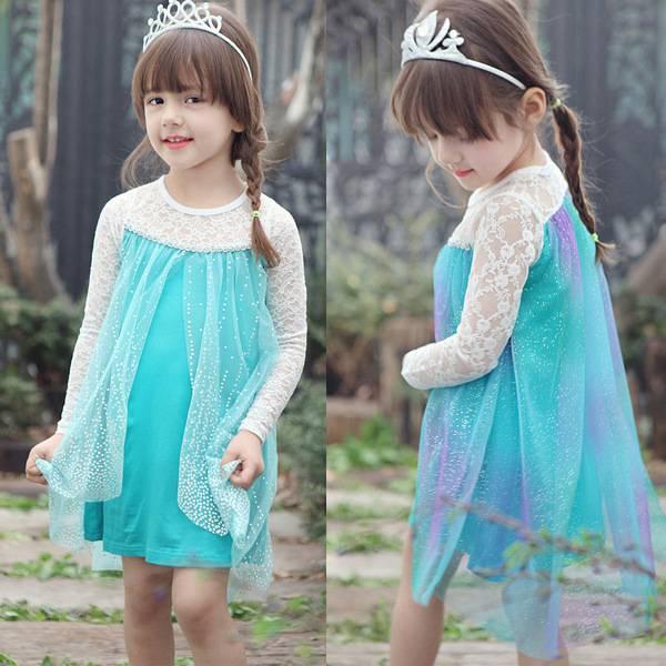 girl fashion  dress Frozen Elsa & Anna Summer Dress