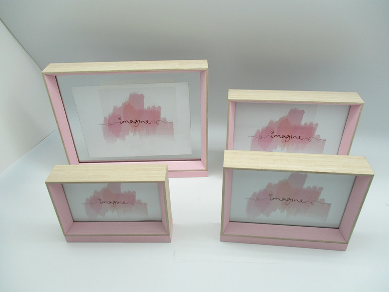 Pink/blue box photo frame, new design,for tabletop use