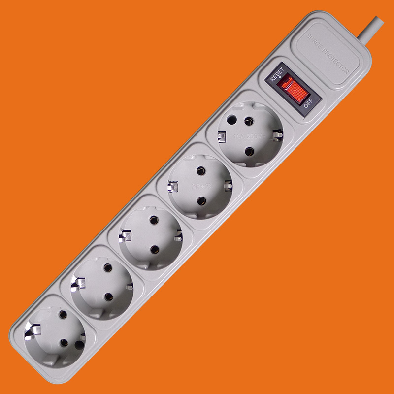 Grey Color 5 way extension socket with switch&surge protect(E2005ES)