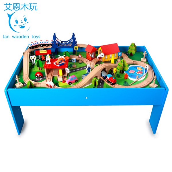 Educational Wooden Toys Train Set Game Play Table