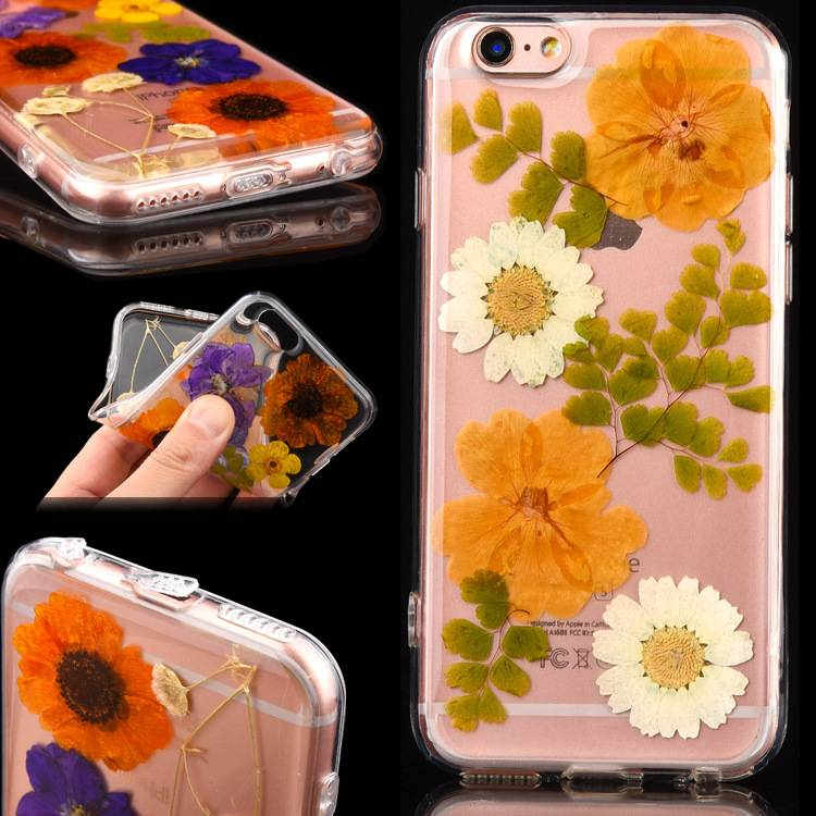 factory sell tpu handmade real flower phone cases
