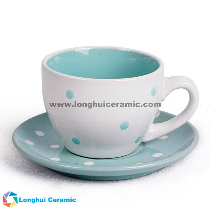 Pure colorful glazed ceramic cup&saucer with small dots printed