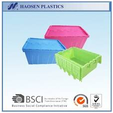 Attached lid colored logistic container for storage