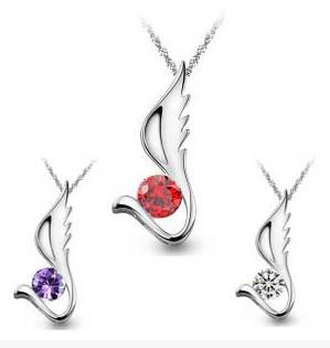 Fashion Women Silver Zircon Wing Pendant Necklace Jewelry