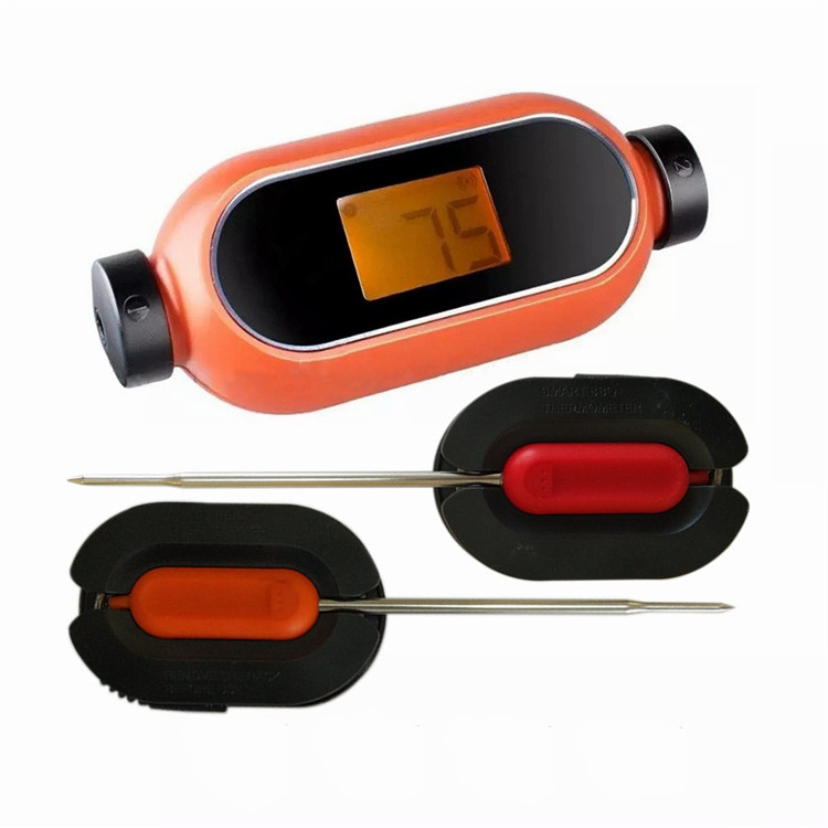 2 Probe candy shape bluetooth food meat thermometer wireless with orange backlight lcd display