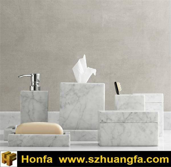 Beautiful Carrara White Marble Mosaic Bathroom Accessories