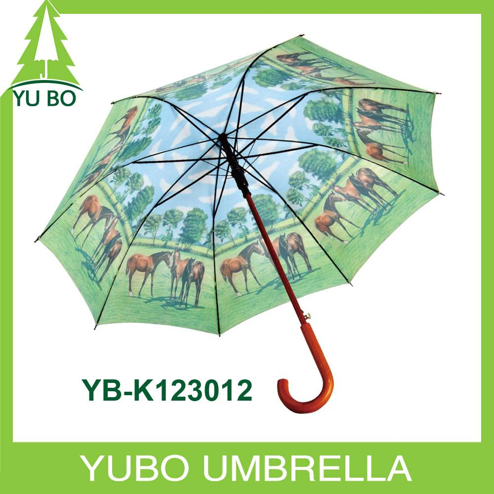heat transfer printing auto open straight wooden umbrella