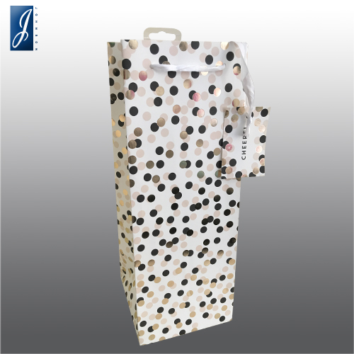 Customized wine promotional paper bag for DOT