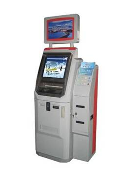 Free-standing Dual screen LCD advertising payment kiosk