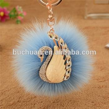 Faux Fur Diamond Keychain Charm