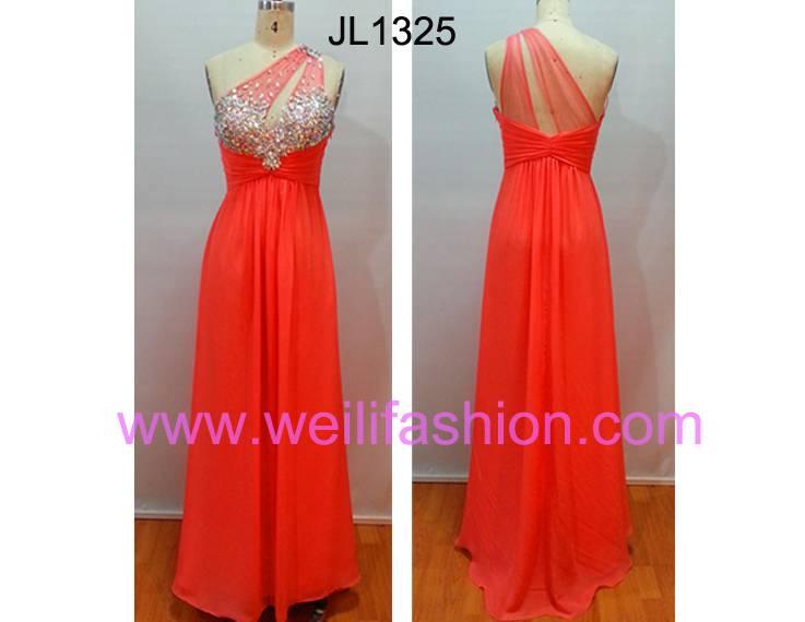 Cheap Long Beading Pleated Chiffon Net Evening Dresses