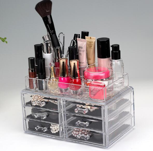 Wholesale Cosmetic Organizer Acrylic Storage Box Clear Cosmetic Drawers Multi-function Make