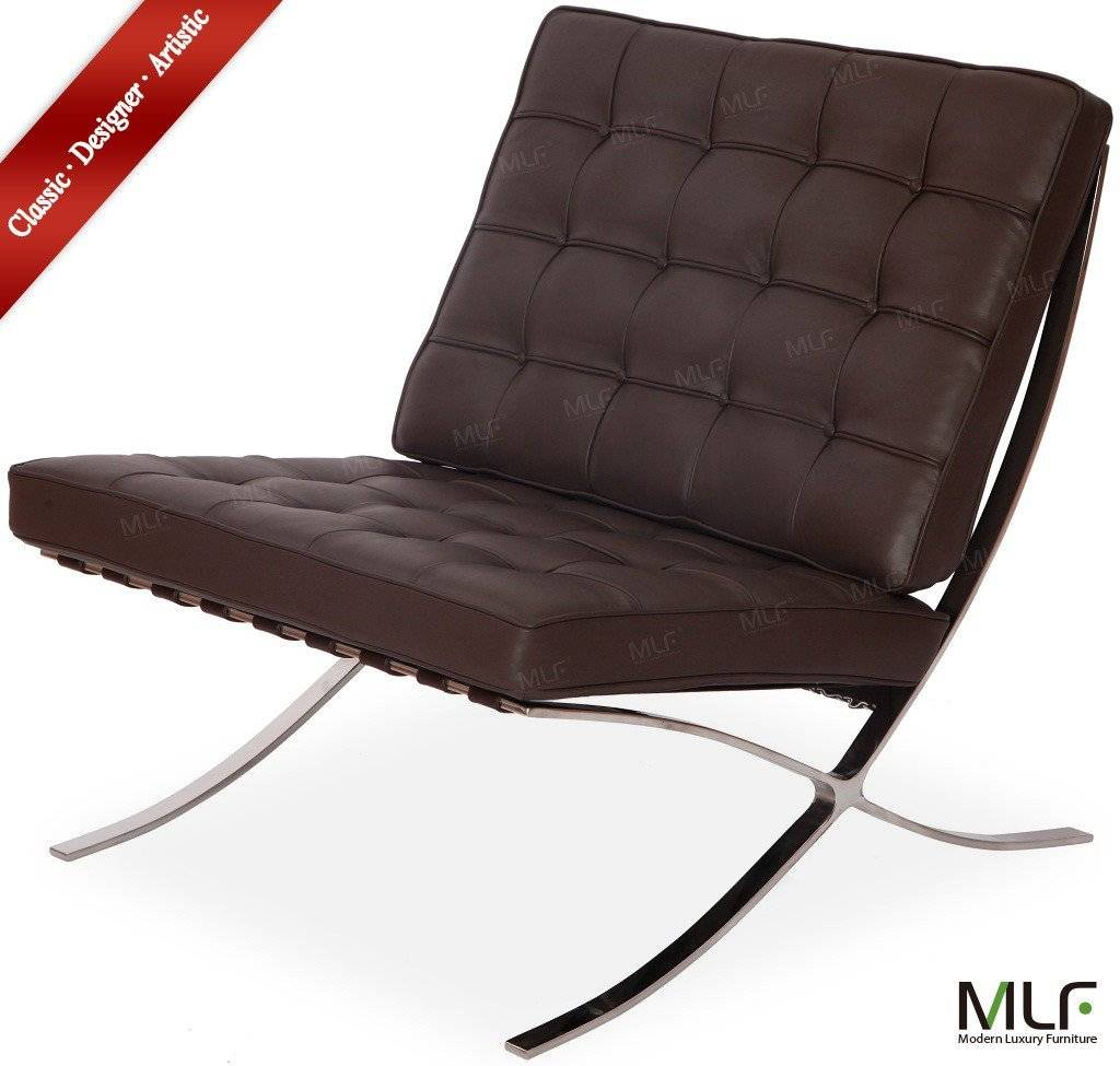 Dark Brown Aniline Leather barcelona chair&ottoman
