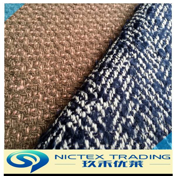 China supplier woven blended wool polyester tweed fabric