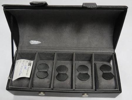 Black genuine leather watch gift box;5 slots men's leather watch display gift box; leather watch cas
