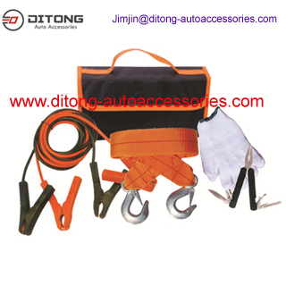 5pcs car emergency kits with jumper cables in carpet bag