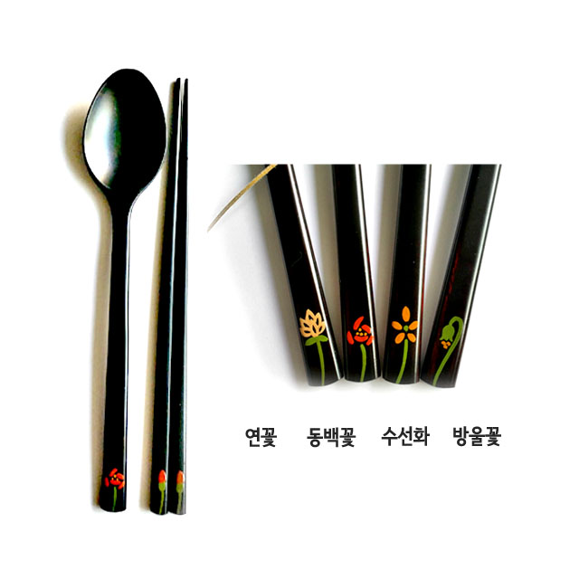 [Made in Korea]  High quality natural lacquer handmade spoon and chopsticks(man-size/children)_flowe