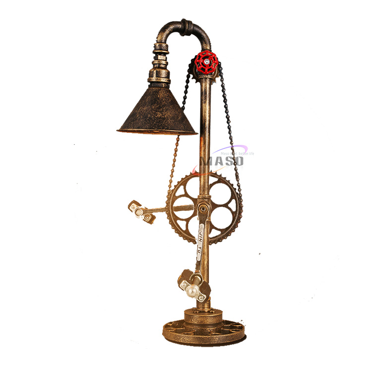 Industrial LED bike table lamp in gold rustic with Edison lights