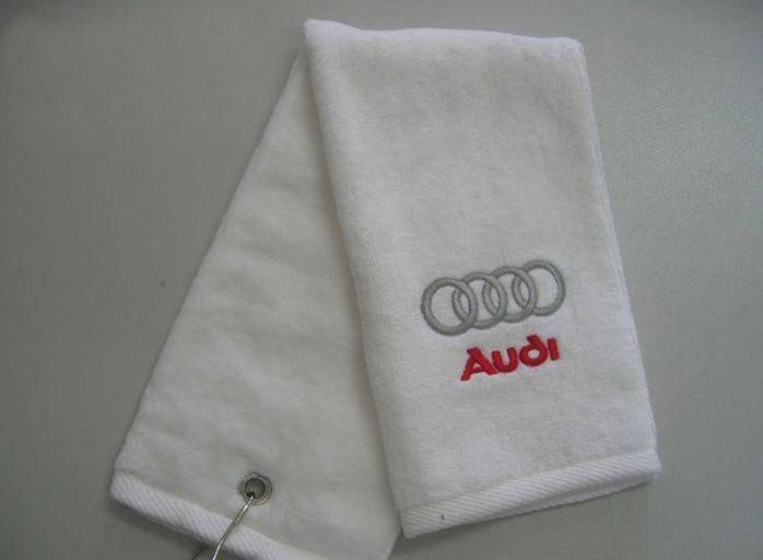 golf towel with embroidery logo with hook and eyelot