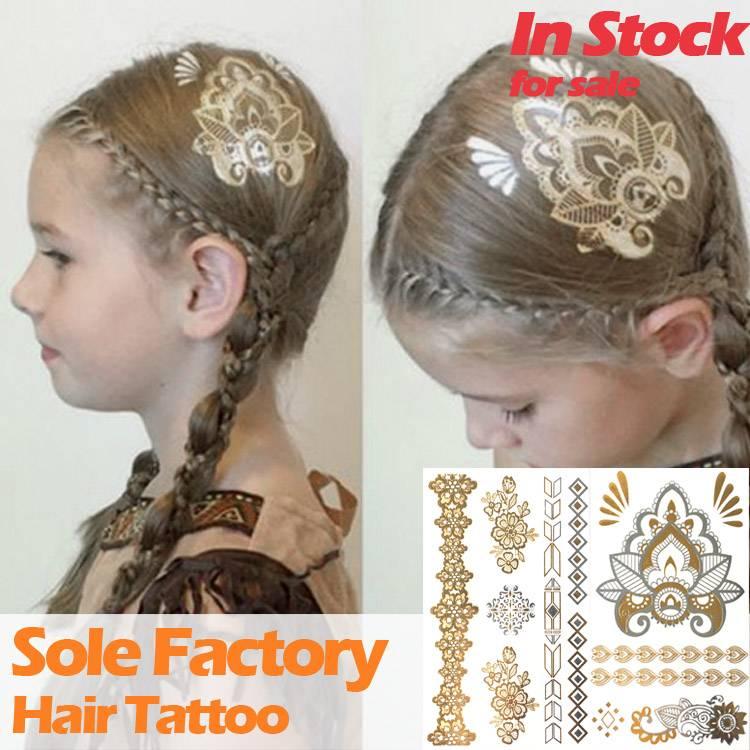 Wholesale floral temporary waterproof metallic gold hair tattoo sticker custom hair tattoo manufactu