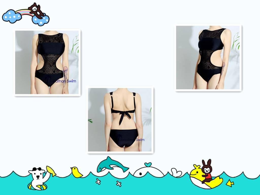 Women's sexy lace hollow out black one piece swimsuits.