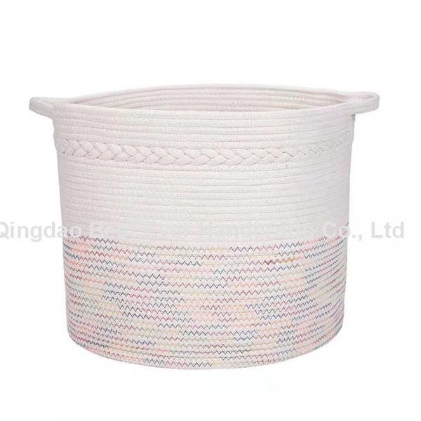 Cotton Rope Woven Storage Basket Collapsible Laundry Basket Nursery Organiser