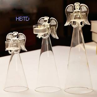 Clear Angel Shape Glass Candle Holder ZT037