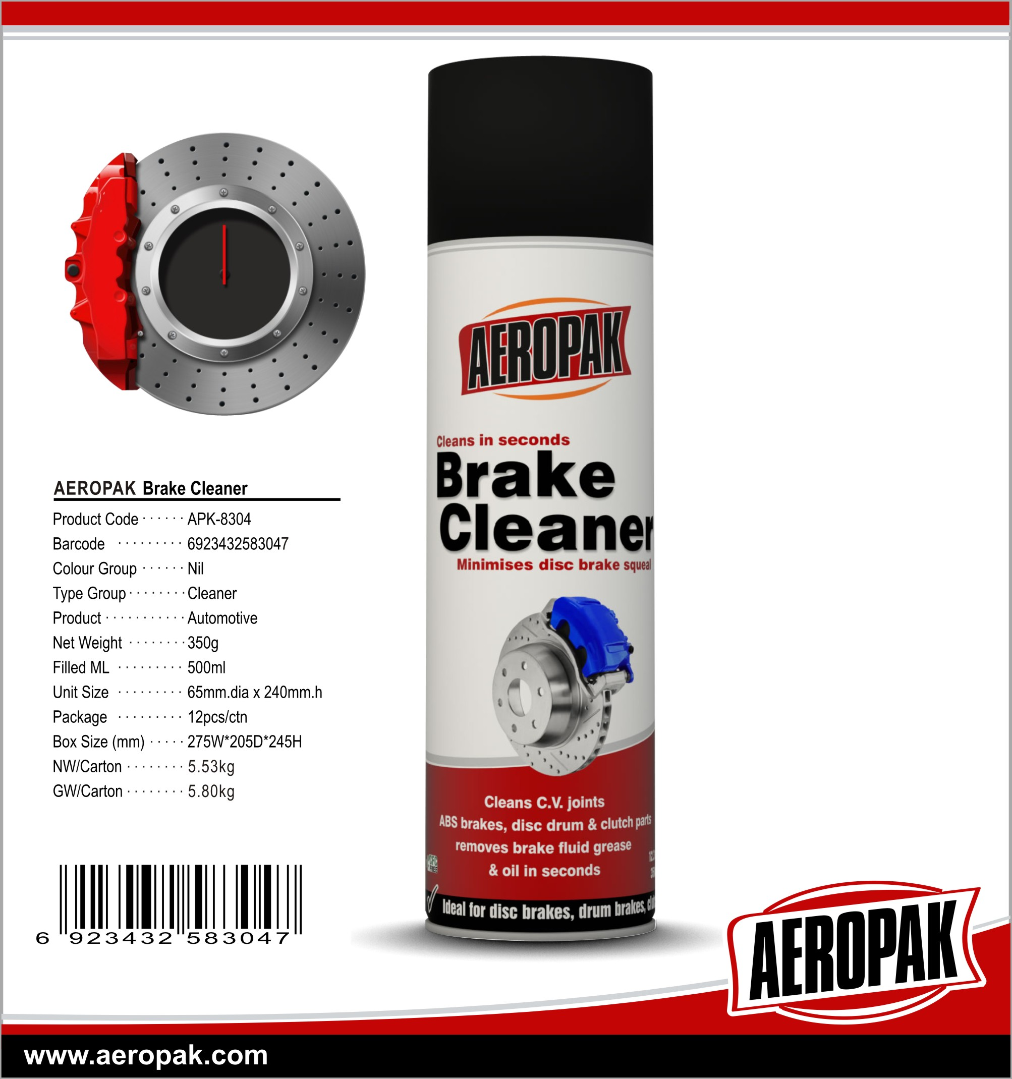 AEROPAK High Efficiency Aerosol Brake Cleaner for Car Cleaning & Washing