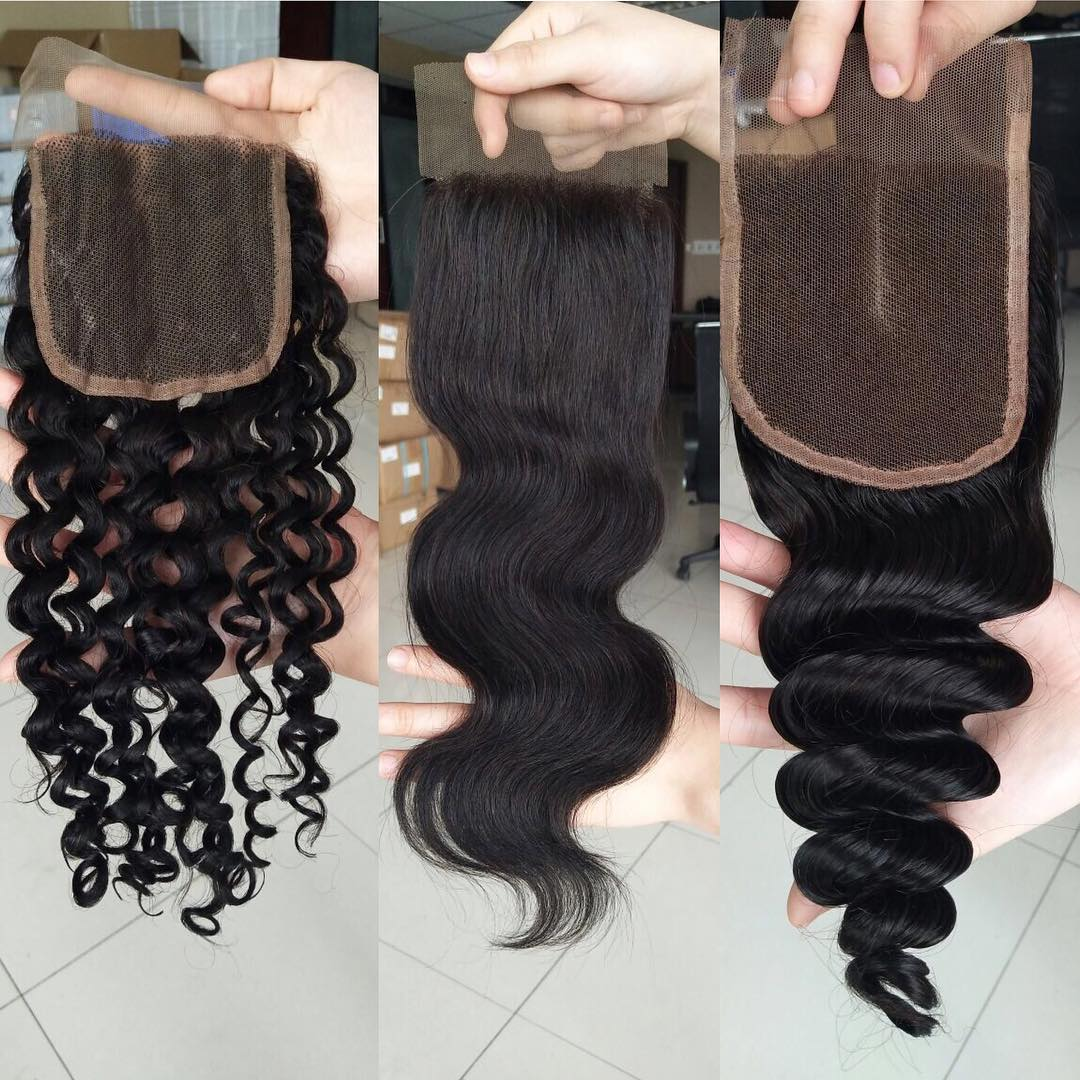 High quality human virgin hair 44 lace closure free part/middle part/thre part closures in stock