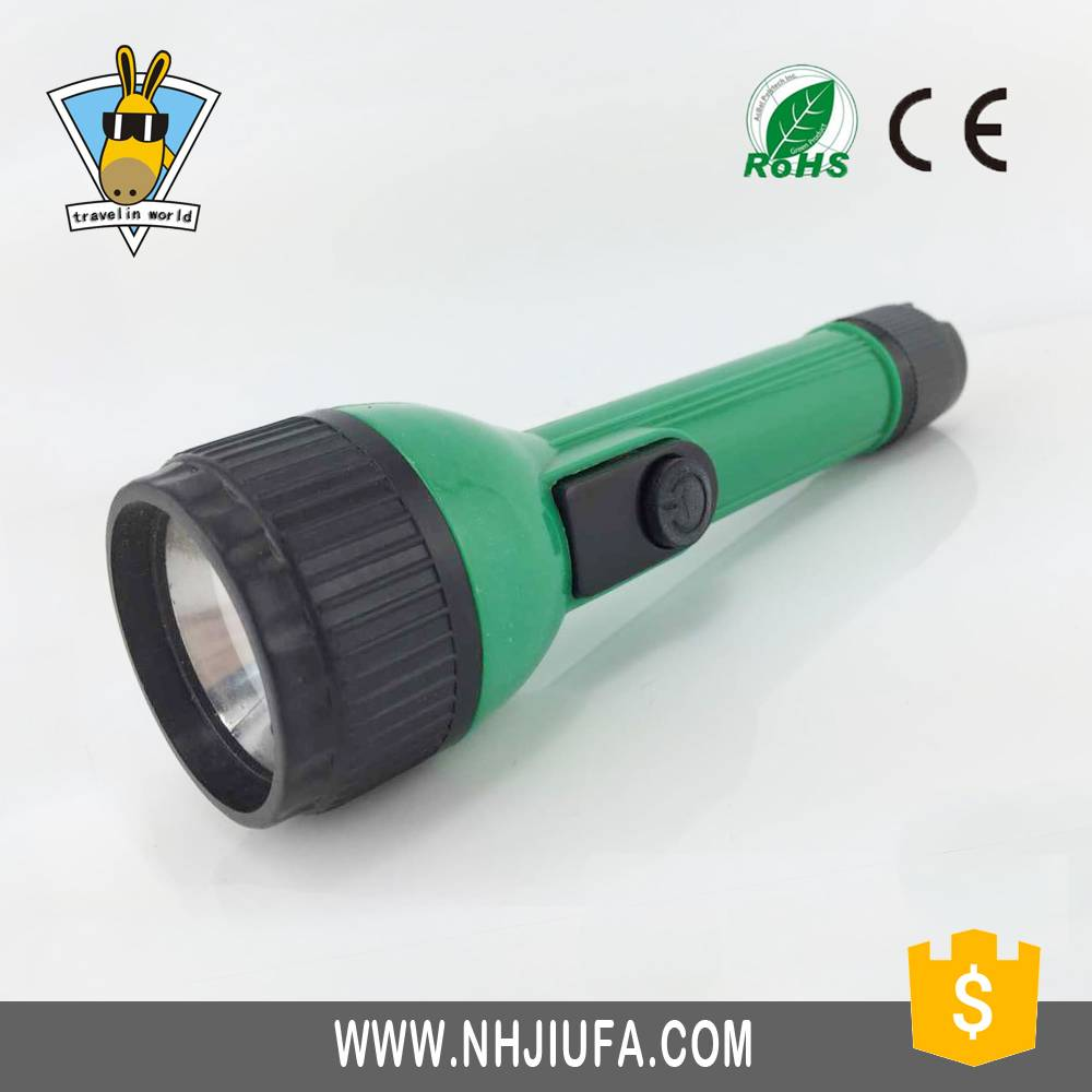 JF Cheap 1W plastic led flashlight, dry battery powered plastic torch,small portable plastic flashli