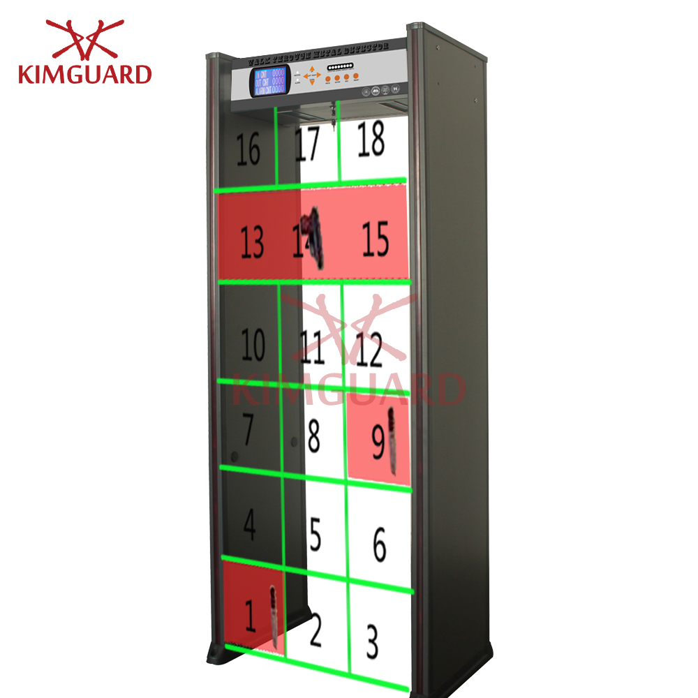High Sensitivity 18zone walk through metal detector with LED location