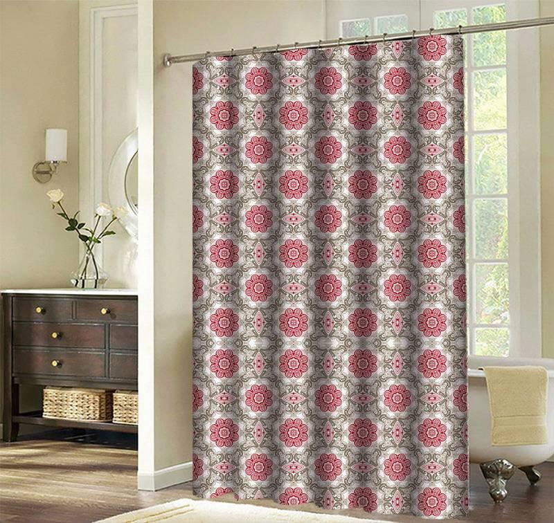 Anti-bacterial flat screen printing polyester bath curtain