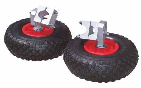 Stabilising wheels for wheelbarrow