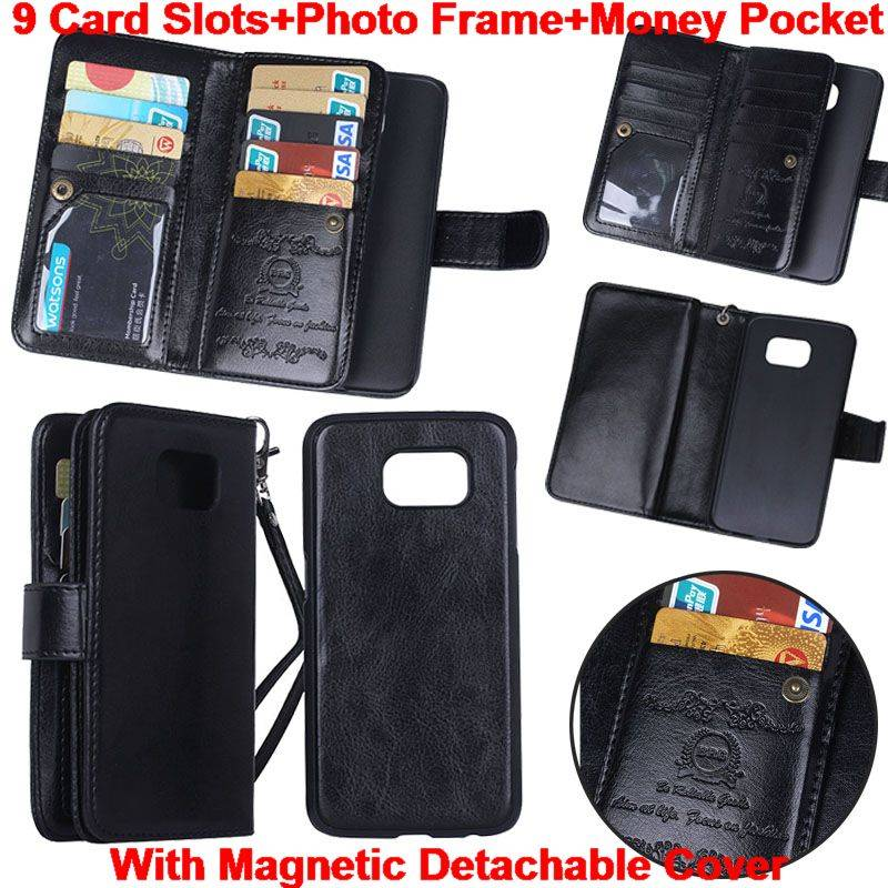 9 Credit Card Slots Flip Wallet Leather Case Detachable Cover for Galaxy S5 S6 Edge Note4 I9600C119