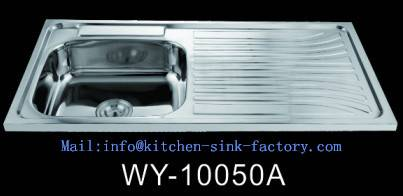 WY-10050 mideast market stainless steel single bowl sink with board