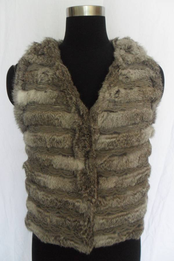 rabbit fur vest with lace