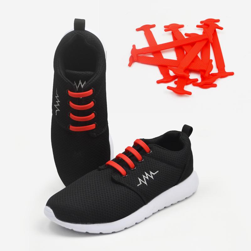 16pcs/pack silicone no tie laces elastic shoelaces 12 colors
