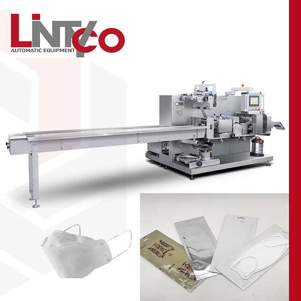 Automatic KF94 face mask packaging machine with euro hole