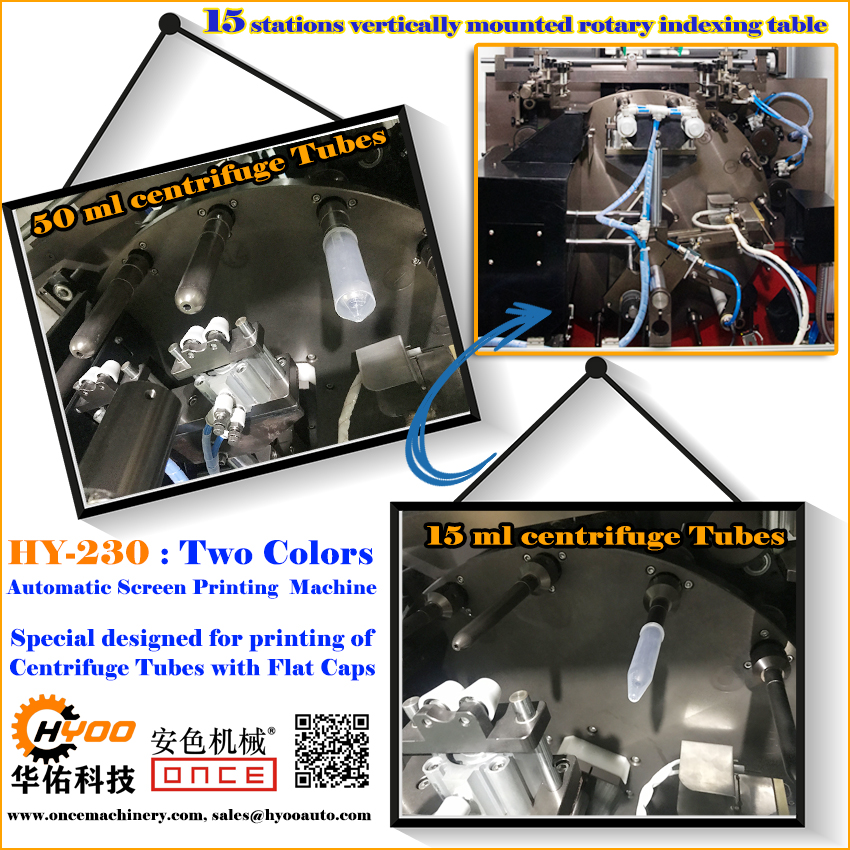 Huayu Automation - HY-230 Two Colors Automatic Screen Printing Machine for Centrifuge Tube