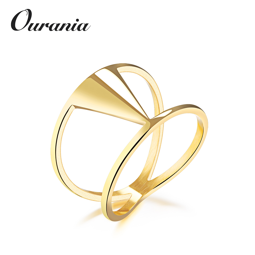 Fashion Titanium Steel Ladies Ring Geometric Triangular Fancy Finger Rings for Girl